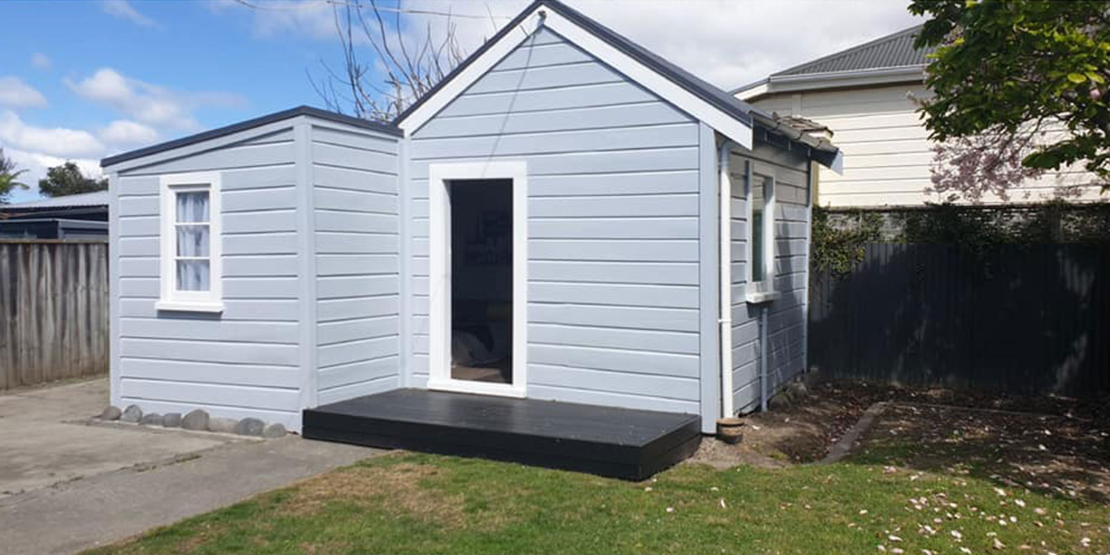 colourcraft grey house renovation shed after