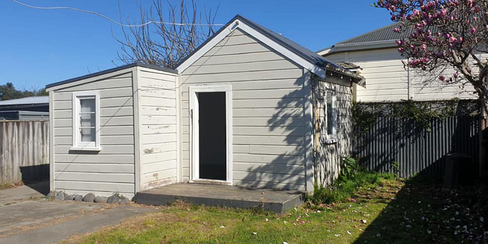 colourcraft grey house renovation shed before